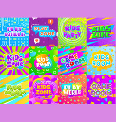 Game room banners kid fun signs child playground vector