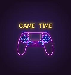 Gamepad neon banner vector