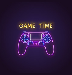 gamepad neon banner vector image