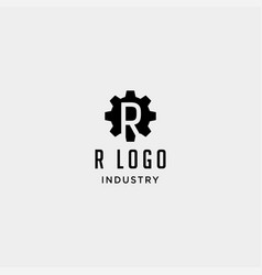Gear machine logo initial r industry icon design vector