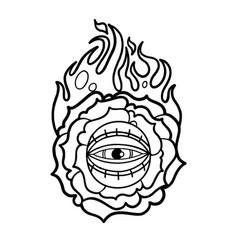 Graphic flaming flower and all-seeing eye vector