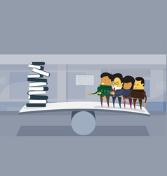 Group of asian business people vs books stack on vector