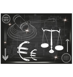 hammer judge scales of justice and the euro vector image