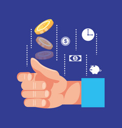 hand with coin dollar and set icons economy vector image