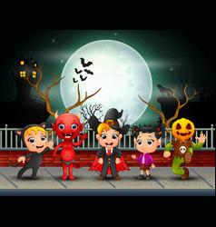 Happy halloween kids in full moon background vector