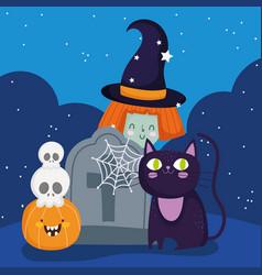 happy halloween witch cat tombstone skulls vector image
