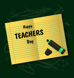 happy teachers day note sheet with felt-tip pen vector image