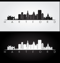 hartford usa skyline and landmarks silhouette vector image