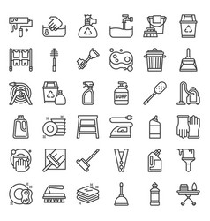 Housekeeping equipment related icon set vector