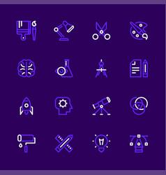 Icon set creativity education design vector