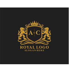 Initial ac letter lion royal luxury logo template vector