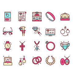 jewelry color linear icons set vector image
