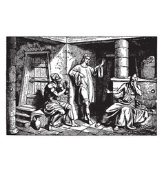 Joseph in prison with the cup-bearer vector