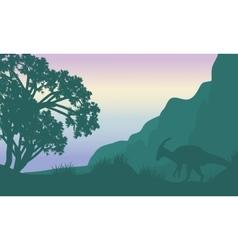 Landscape parasaurolophus in fields silhouette vector