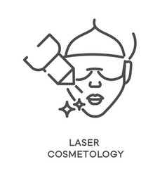 Laser cosmetology treatment icon and female face vector