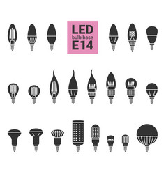 led light e14 bulbs silhouette icon set vector image