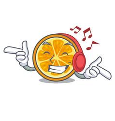 Listening music orange mascot cartoon style vector
