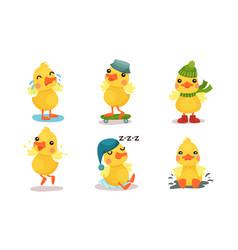 Little cartoon yellow humanized duckling vector