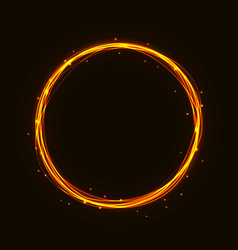 magic hot gold circle glowing fire ring tr vector image