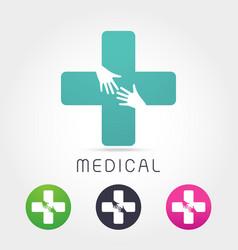 medical pharmacy logo design template vector image