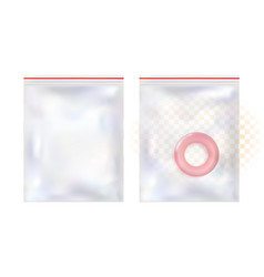 mockup realistic of transparent plastic packaging vector image