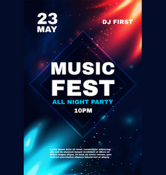 Music fest poster template with red and blue vector
