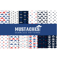 mustache seamless patterns set november vector image