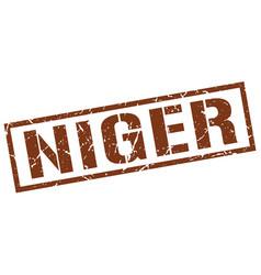 Niger brown square stamp vector