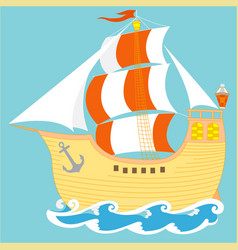 old beautiful sailboat on the sea waves vector image