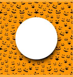 orange halloween background with pumpkin faces vector image
