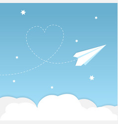Paper airplane background with heart vector