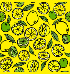 pattern with lemon and lime vector image