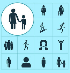 People icons set collection of running member vector