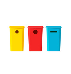 Plastic recycling bin containers for garbage vector