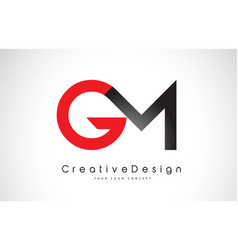 Red and black gm g m letter logo design creative vector