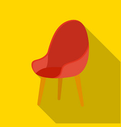 red oval chair icon in flat style isolated on vector image
