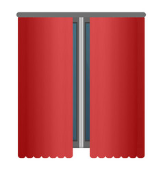 Red window curtains icon cartoon style vector