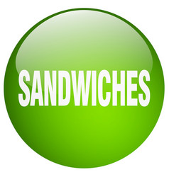 Sandwiches green round gel isolated push button vector