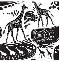seamless pattern with giraffes and ethnic motifs vector image