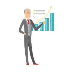 Senior caucasian businessman pointing at chart vector