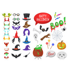 set halloween party photo booth props vector image