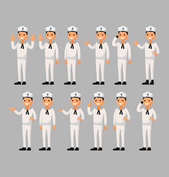 Set of a sailor man cartoon in different poses vector