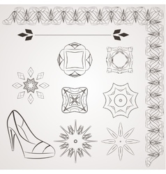 Set of filigree star flowers borders vector