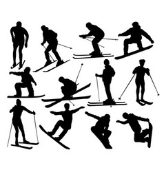 skier standing on snow silhouettes vector image