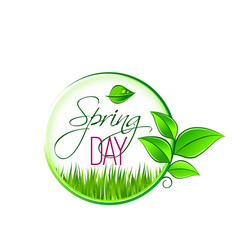 Springtime green leaf sprout and grass icon vector