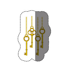 Sticker pattern with vintage golden keys hanging vector