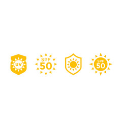 Sun block protect from uv radiation spf 50 icons vector