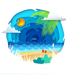Tropical paradise circle banner vector