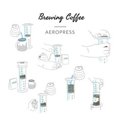 Types brewing coffee method aeropress vector