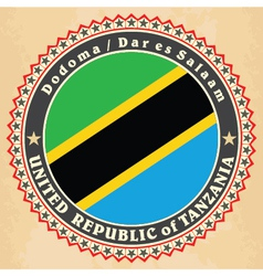 Vintage label cards of Tanzania flag vector